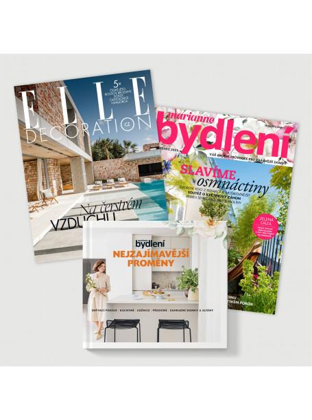 Roční předplatné Elle Decoration (4 vydání) + Marianne Bydlení  (6 vydání) + kniha Nejzajímavější proměny